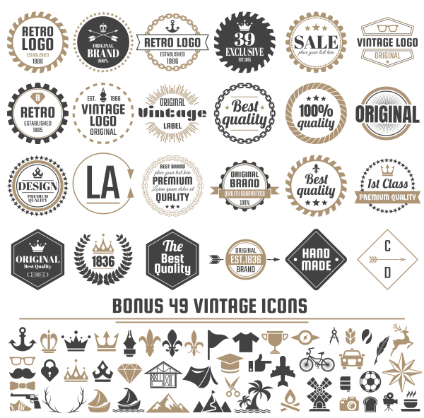 Vintage vector labels and icons 06