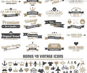 Vintage vector labels and icons 07