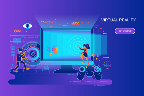 Virtual reality flat design concept vector