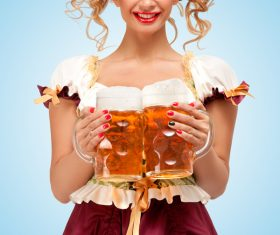 Waitress holding a beer Stock Photo 01