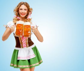 Waitress holding a beer Stock Photo 02