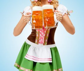 Waitress holding a beer Stock Photo 04