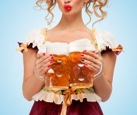 Waitress holding a beer Stock Photo 05