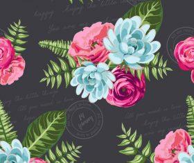 Watercolor flower seamless pattern vectors 01