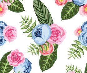 Watercolor flower seamless pattern vectors 02