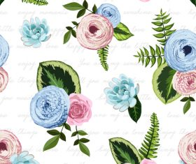 Watercolor flower seamless pattern vectors 03