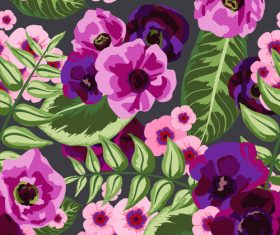 Watercolor flower seamless pattern vectors 04