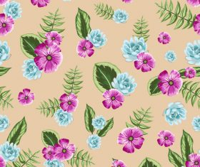 Watercolor flower seamless pattern vectors 05