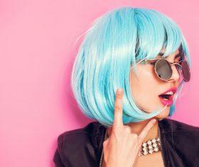 Wear blue wiggery naughty girl Stock Photo 01