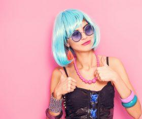 Wear blue wiggery naughty girl Stock Photo 03