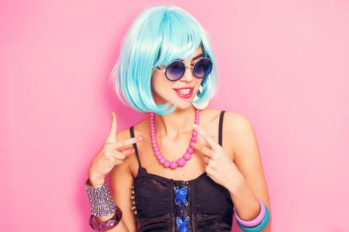 Wear blue wiggery naughty girl Stock Photo 05