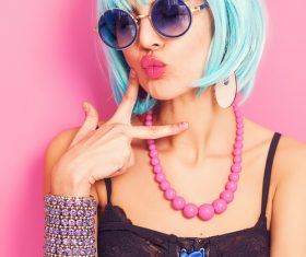 Wear blue wiggery naughty girl Stock Photo 06