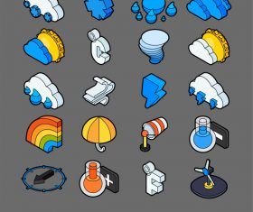 Weather – isometric outline color icons