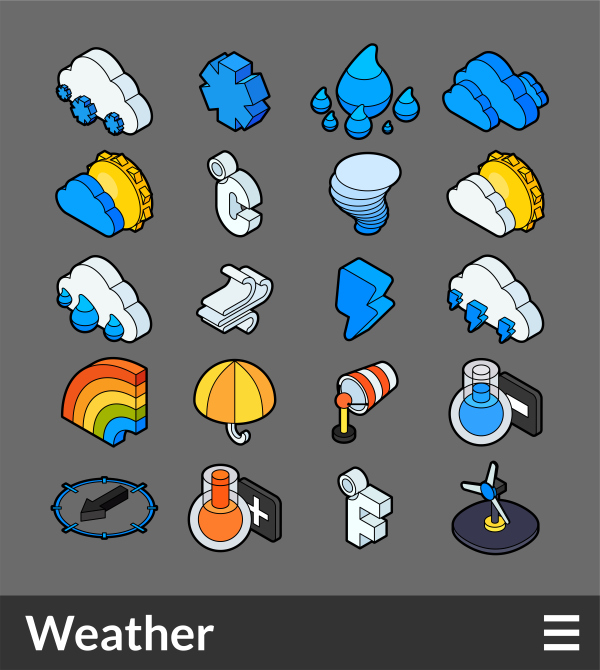 Weather   isometric outline color icons