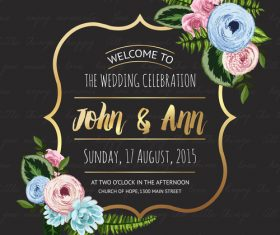 Wedding invitation with black background vector 01