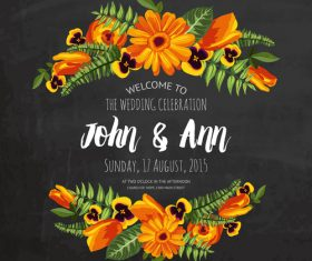 Wedding invitation with black background vector 02