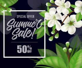 White flower with summer sale background vector
