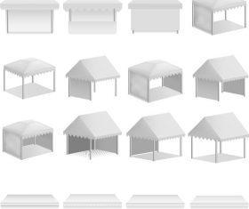 White tents vector illustration 01