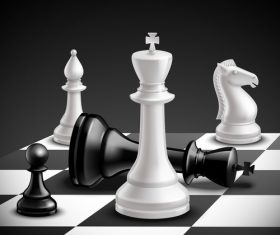 White with black figure chess vector 01