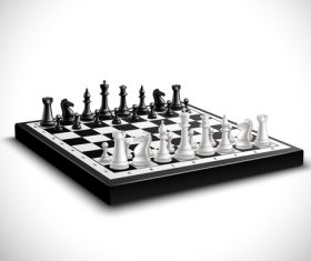 White with black figure chess vector 02