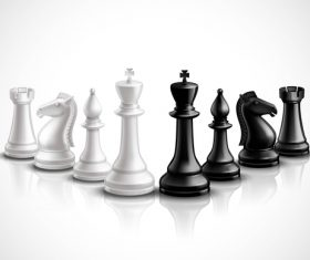 White with black figure chess vector 03