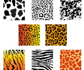 Wild animal skin pattern vector set 02