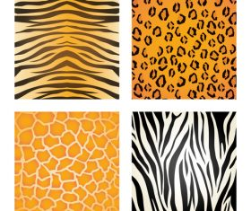 Wild animal skin pattern vector set 03