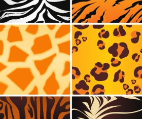 Wild animal skin pattern vector set 04