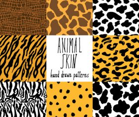 Wild animal skin pattern vector set 05