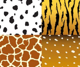 Wild animal skin pattern vector set 06