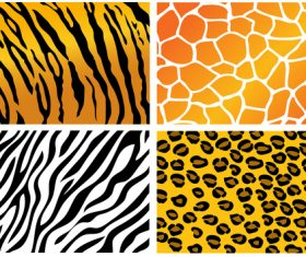 Wild animal skin pattern vector set 08