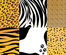 Wild animal skin pattern vector set 09