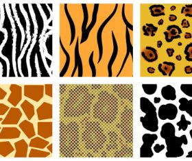 Wild animal skin pattern vector set 10