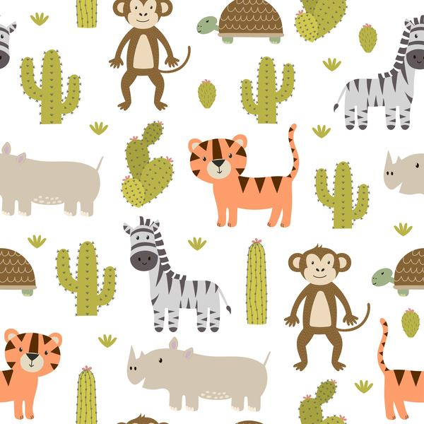 Wild animal with cactus seamless pattern vector