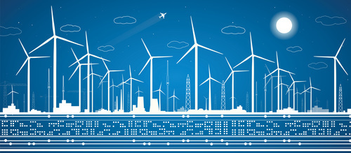 Wind power design blueprint vector