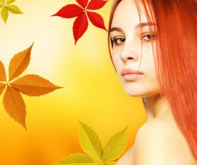 Woman and maple leaf background Stock Photo