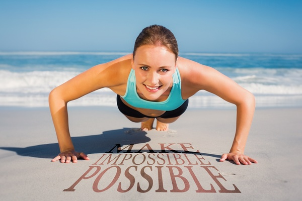 Woman exercising on the beach Stock Photo 04