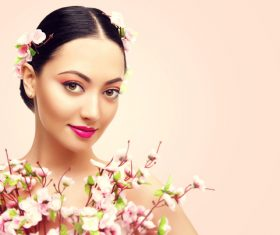 Woman fashion makeup and flower Stock Photo