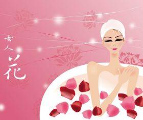 Woman flower illustration vector