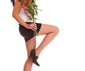Woman posing holding flowers Stock Photo 01