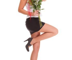 Woman posing holding flowers Stock Photo 03