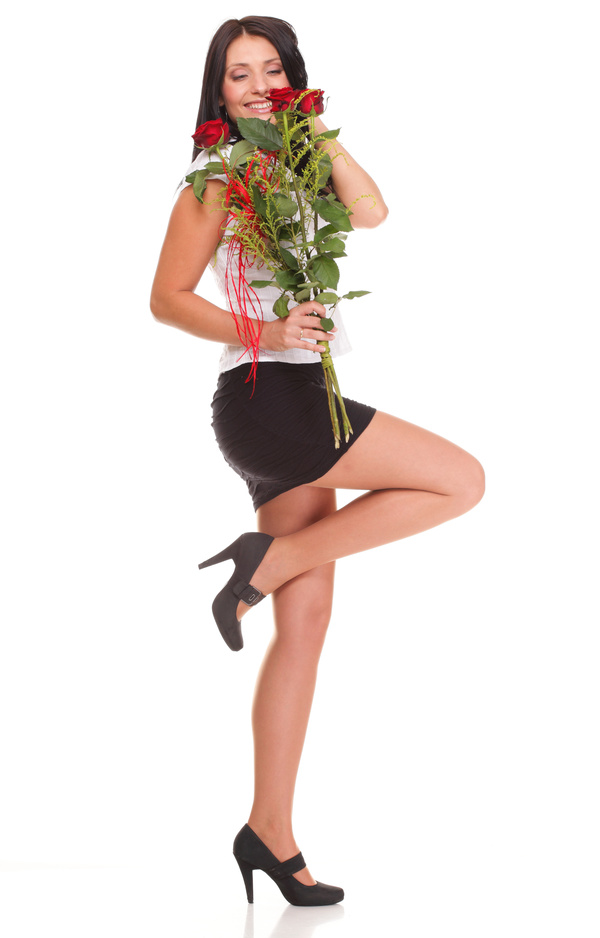 Woman posing holding flowers Stock Photo 03