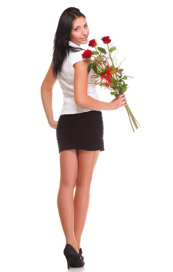 Woman posing holding flowers Stock Photo 04