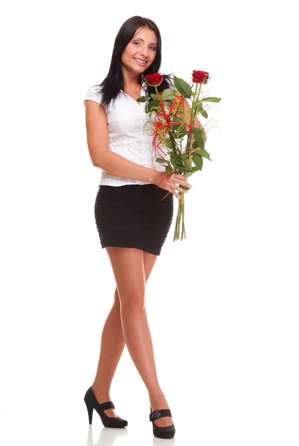 Woman posing holding flowers Stock Photo 05