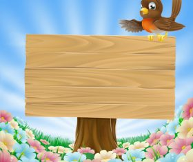 Wooden sign with cartoon bird vector