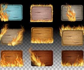Wooden sign with fire flame vector 01