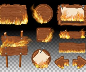 Wooden sign with fire flame vector 02