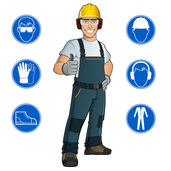 Worker with safety icons vector