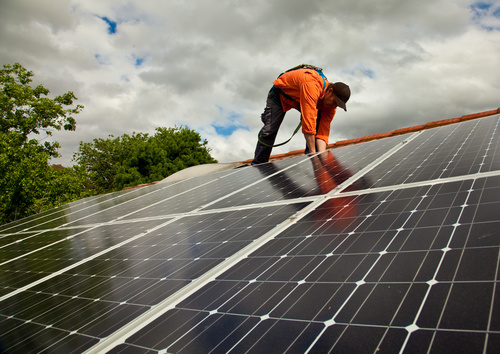 Workers Repair solar panels Stock Photo 01