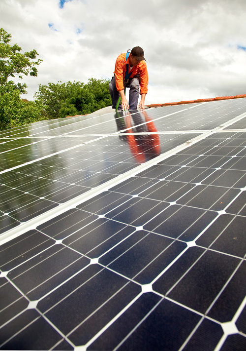 Workers Repair solar panels Stock Photo 02